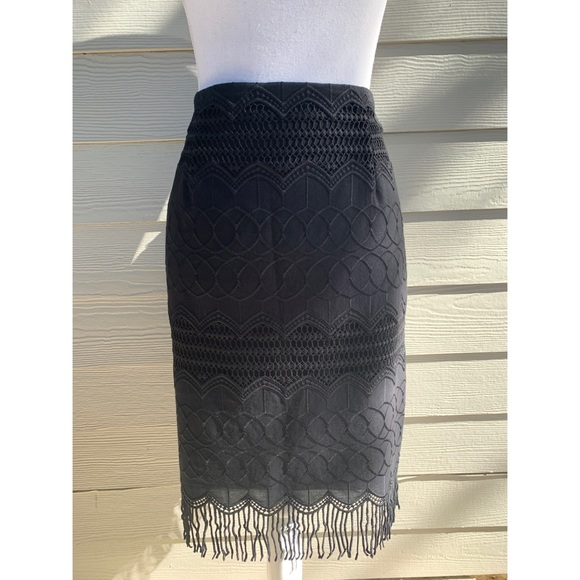 Nanette Lepore Dresses & Skirts - NANETTE LEPORE BLACK LACE PENCIL FRINGE SKIRT